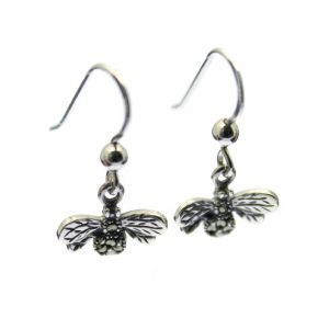 Marcasite Bee Earrings - Sterling Silver Setting & Hook with Marcasite Inlay